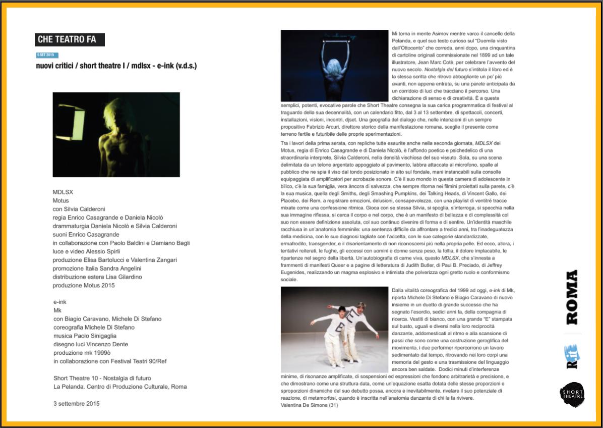 che teatro che fa | Valentina De Simone | 5 settembre 2015